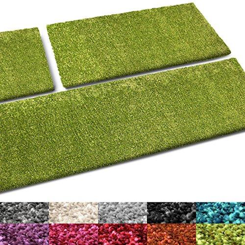 casa pura® Bettumrandung Cosy | Bettvorleger Set 3 teilig für Schlafzimmer | in vielen Trendfarben | waschbar | Hochflor Teppich Läufer, kuschelig weich (grün)
