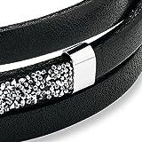 s.Oliver Damen-Armband 54+3 cm Edelstahl Leder Swarovski Kristalle - 4