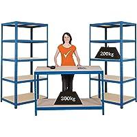 Mega Deal |PROMO | 1x établi et 2x étagères métalliques| profondeur 60 cm
