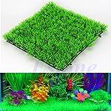 Xuniu Pianta acquatica Artificiale, acquatica Verde Erba pianta Prato Acquario Fish Tank Decor (25x25x3.5 cm)