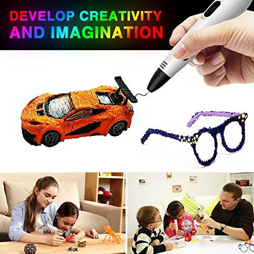 3d stifte, Parner 3D Stift mit 12 Verschiedenen PLA Farb Ersatzminen, 3D Pen für Kinder Sicher und Einfach zu Benutzen, 3D Stifte Set für Jung und Alt - 6