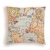 Mappa cuscino cartolina. Carta mappa del mondo. Itinerario di viaggio personalizzato ricamato