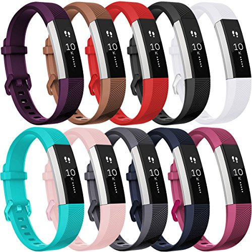 HUMENN Für Fitbit Alta Armband Verstellbares Sport Ersatz Band Ersatzarmband Wristband Silikonarmband Fitness Zubehörteil mit Metallschließe Small # 10Pack