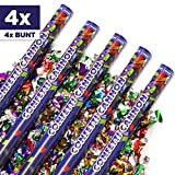 4x XXL Konfetti-Shooter 80cm RAINBOW COLORS BUNT - Party Popper Konfettikanone Konfetti Regen für Silvester, Hochzeit, Party, Geburtstag & Co. - PARTYMARTY GMBH