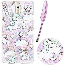 vieoal Cute Cartoon bebé unicornio arco iris estrellas Rainbow diseño Bling Sparkle azul líquido con purpurina de corazones rosas carcasa rígida de plástico Carcasa Funda para Samsung Galaxy Note 3con lápiz capacitivo