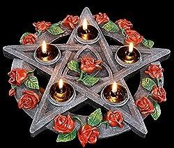 Teelichthalter - Pentagramm Mit Rosen - Deko