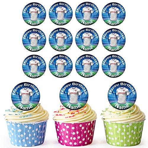 England Fußball Trikots 24 Personalisierte Vorgeschnittene Kreise - Essbare Cupcake Aufleger / Geburtstagskuchen Dekorationen