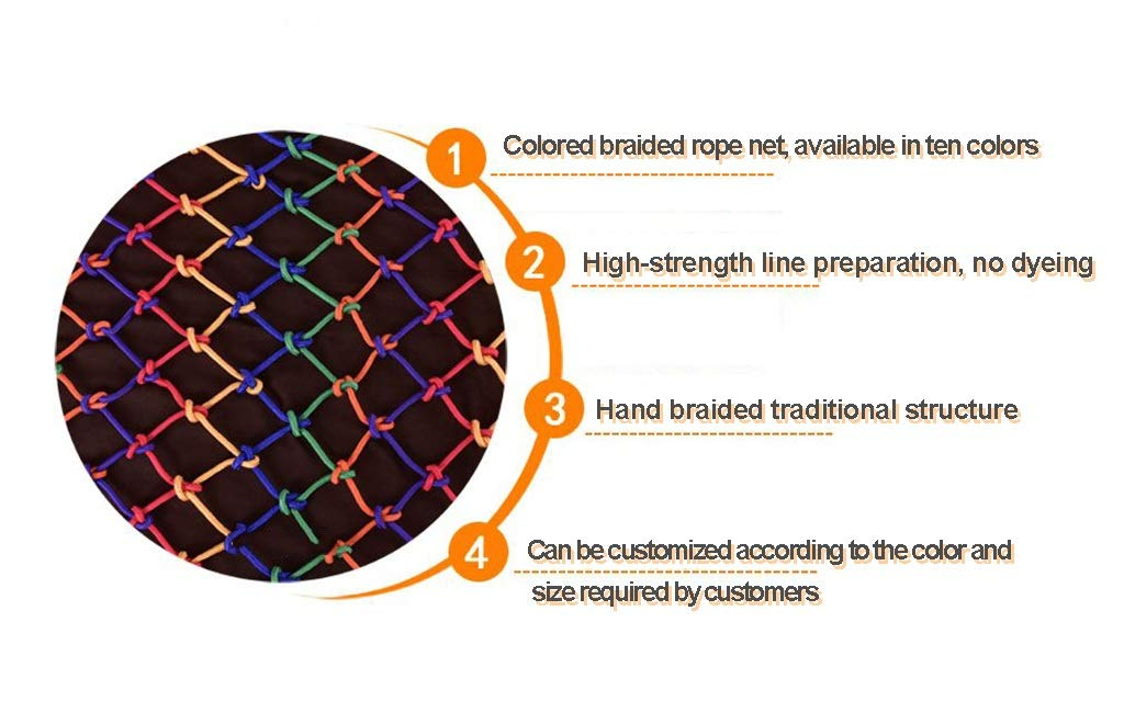 Orange Child safety net protective net balcony stairs anti-fall net kindergarten color decorative net fence network Width 1/4M Length 1M /9M Hand braided traditional structure (Size : 4 * 5m)  [Protect children's safety]: Many children fall from the building, let us understand that the safety of children can not be ignored. [Polyester knotless woven mesh]: The mesh surface has large pulling force, and the double needle has no knot woven mesh hole, so that the mesh has stronger impact resistance. [wire diameter 6MM, mesh spacing 4CM]: Escort for baby safety.(Others available in our shop) 3
