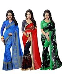 Ishin Combo Of 3 Georgette Multicolor Party Wear Wedding Wear Casual Daily Wear Festive Wear Bollywood New Collection...