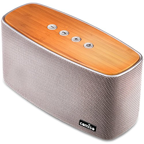COMISO 30W Bluetooth Speakers with Super Bass, Bamboo Wood Home Speaker with...