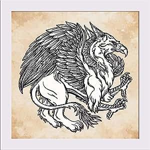 AZ Vintage Griffin Mythological Magic Winged Beast Canvas Painting White Frame 13 x 13inch