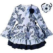 Ju petitpop Lajinirr Niñas Flare Sleeve Floral Printed Princess Layered  Navy Vestidos de otoño ebd3d580f854