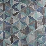 Möbelstoff Polsterstoff AURA Retro-Blumen blau grau petrol