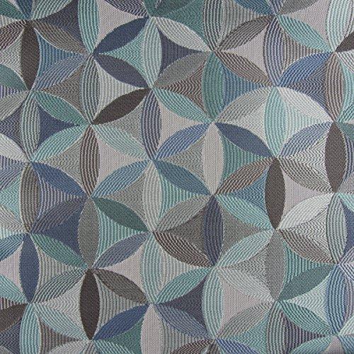 Möbelstoff Polsterstoff AURA Retro-Blumen blau grau petrol 1,40m Breite -
