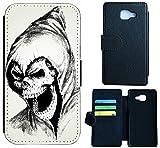 Huawei Nova Hülle Flip Cover Case Schutzhülle für das Nova von Huawei Design (1027 Totenkopf Skull Sensenmann)