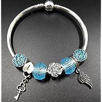 Upstudio Artesanía Decorativa Juguetes Regalos DIY Feather Key Glass Bead Bracelet ...