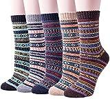 Wollesocken, Damen Socken Winter 5 Paar atmungsaktiv warm weich bunte Farbe Premium Qualität klimaregulierende Wirkung