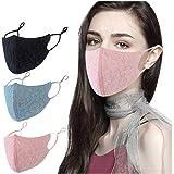 3 stuks mondkapjes voor dames, wasbaar, herbruikbaar, kant, bloem, verstelbaar katoen, gezichtsmasker, gezichtsbescherming, b