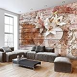 murando - Fototapete Vintage 400x280 cm - Vlies Tapete - Moderne Wanddeko - Design Tapete - Wandtapete - Wand Dekoration - Blumen Lilien Holz Bretter f-A-0616-a-a