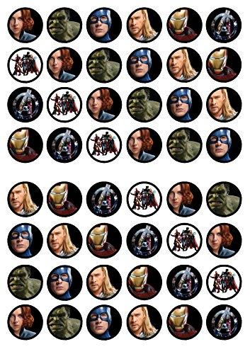 48 Avengers, 48 Rächer, Essbare PREMIUM Dicke GEZUCKERTE Vanille, Reispapier Mini Cupcake Toppers, Cake Pops, Cookies für Wafer