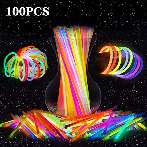 LeeHur - Paquete de 100 barras/pulseras fluorescentes para fiestas, partidos, etc, colores surtidos