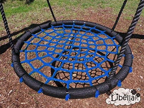 Libella Nestschaukel 100 cm Schaukel Kinder Rundschaukel Tellerschaukel Netzschaukel (Blau)
