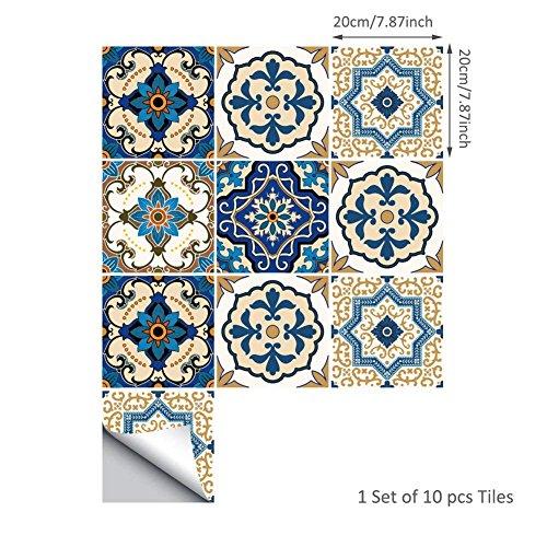 10 STÜCKE Marokkanische Fliesen Aufkleber, wasserdichte Wandaufkleber für Badezimmer Küche Fliesen Transfer Aufkleber (8x8 inch(20x20CM))