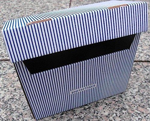 5 Papiertiger Karteikästen A6 Karton Design weißblau faltbar passend für bis zu 300 Karteikarten