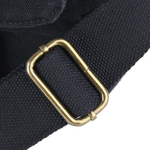 Tofern Klassische Herrn Vintage Canvas Tasche Einzel-Schulter Cross-Body Messenger Tasche mit durable Leder Schwarz