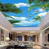 Wallpaper Experten Custom 3D Fototapete Blauer Himmel Meer Kokospalmen Seevögel Wohnzimmer Abgehängte Decke Wandbild Tapete 3D300cmX210cm