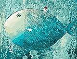 YEESAM ART Neuerscheinungen Malen nach Zahlen für Erwachsene Kinder - Fish blauer großer Fisch House Kleines Haus 16 * 20 Zoll Leinen Segeltuch - DIY ölgemälde ölfarben Weihnachten Geschenke