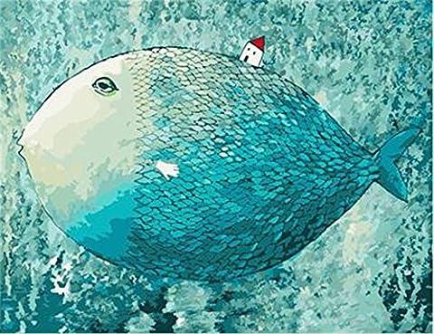 [ Holzrahmen oder nicht] Malen nach Zahlen Neuerscheinungen Neuheiten - DIY Gemälde durch Zahlen, Malen nach Zahlen Kits - Big Fish kleines Haus 16 * 20 Zoll - digitales Ölgemälde Segeltuch Wand Kunst Grafik für Heim Wohnzimmer Büro Decor Decorations Geschenke - DIY Farbe durch Zahl DIY Segeltuch-Kit für Erweiterte Erwachsene Kinder Senioren Junior - Neue