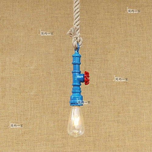 Modeen Retro Industrial Iron Water Pipe Kronleuchter Hanf Seil Pendelleuchte E27 Edison Bulb Restaurant Coffee Shop Wohnzimmer Barn Warehouse Küche Dekoration Deckenleuchte (Color : Blue) -