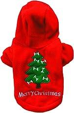 Da.Wa Welpen Haustier Herbst und Winter Baumwolle Jacke Jacke mit Hut Pullover verdickt Weihnachten Welpen Kleidung-Rot,XS,S,M,L,XL
