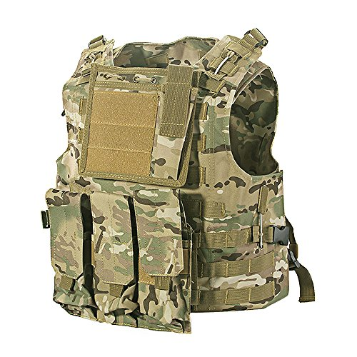 tomount Softair-Paintball-Schutzweste, Molle-Design, strapazierfähig, Nylon, Light camo