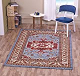 """A2Z Rug Traditional Qashqai 5578 Stylish Collection Area Rugs, Blue 160x230 cm - 5'5""""x7'5"""" ft"""
