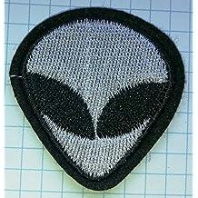 Cabeza de alien ufo gamuza de bordado hierro en parches 3artículos