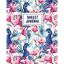Bullet Journal: Peacock Journal | 150 Dot Grid Pages (size 8x10 inches) | with Bullet Journal Sample Ideas