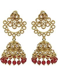 MUCH MORE Traditional Polki Earring With Beauiful Dropping Of Ruby Jewellery For Women's