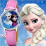 Montre fille Frozen Princesse des neiges Elsa et Anna bracelet Cuir rose De Mode Fille (cadran affichante elsa et anna)