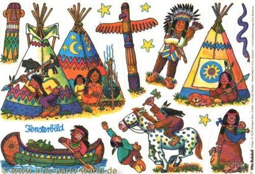 Indianer Fensterbilder in DIN A4 von Lutz Mauder // Bunte Klebebilder für das Fenster Sticker Geschenke Basteln Spielen Kleben Amerika USA Totem Wigwam Pferd Pony Sterne Squao Kanu