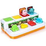 Powcan Pop-up speelgoed voor peuters, Interactief pop-up dieren speelgoed, Pop-up Activity Toy, Kinderen muziek speelgoed, Ed