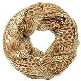 Gadzo damenschal leo Loop schal leopard Muster Look Schlauchschal loop schal damen braun Rundschal LoopL0175