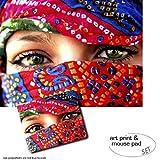 Geschenkset: 1 Poster Kunstdruck (80x60 cm) + 1 Mauspad (23x19 cm) - Frauen, Arabische Augen