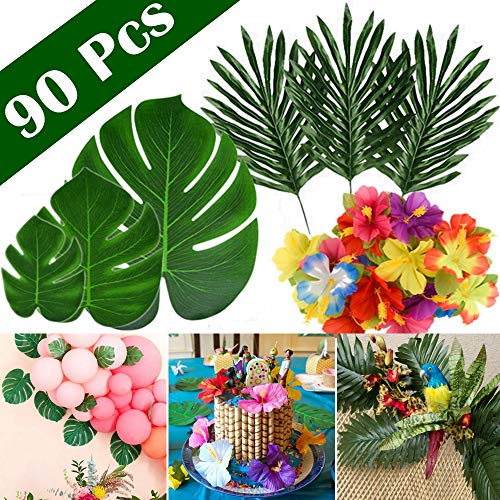 liche Tropische Blätter für Hawaiian Party Dekorationen, künstliche Faux Tropische Palme Monstera Blätter Hibiscus Blumen für Aloha Tropical Luau Party Dekorationen ()