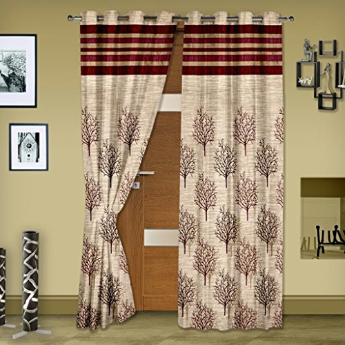 Super India Modern Jute Long Door Curtains (Set of 2)- 9 Feet x 4 Feet in Mahroon
