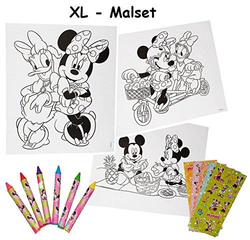 Unbekannt XL Malset / Zeichenset - Disney  Minnie Mouse  - mit 6 Wachsmalstifte + 77 Sticker / Aufkleber - Malvorlagen - Mickey Maus - für Mädchen Malbücher Farben Vorlagen / Malbuch - Playhouse
