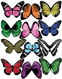Cakeshop 12 x Vorgeschnittene Bunte Essbare Schmetterlingskuchen Topper (Tortenaufleger, Bedruckte Oblaten, Oblatenaufleger)