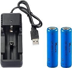 18650 Li-ion Akkus mit Ladegerät, für LED Taschenlampe, Scheinwerfer und Fahrradlicht, 2 Akkus + 1 Ladegerät, nicht für E-Zig(Vape)