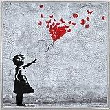 Ragazze Stampa d'Arte e Cornice (Plastica) - Ragazza con Palloncino Rosso di Farfalle, Style Banksy (40 x 40cm)